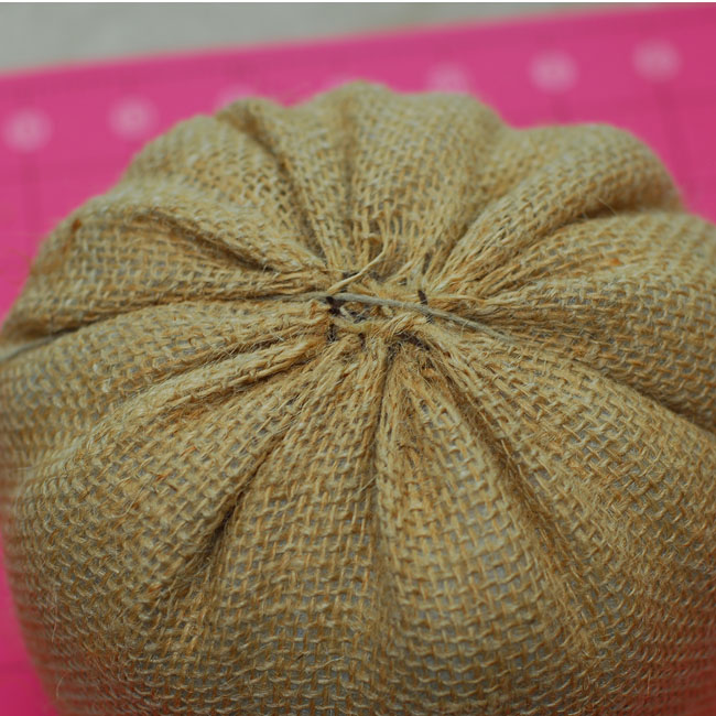 12 - Use hemp or embroidery thread to begin making sections in the pumpkin - Keri Lee Sereika