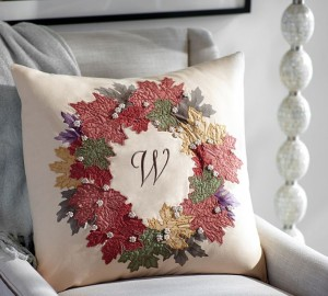 Pottery Barn Fall Leaf Embroidered Wreath Pillow
