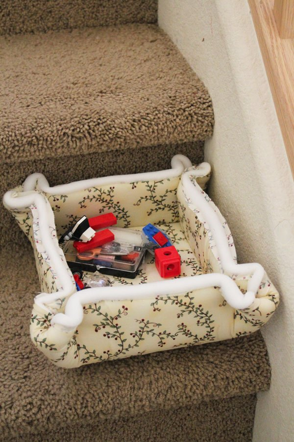 catch all basket on the stairs