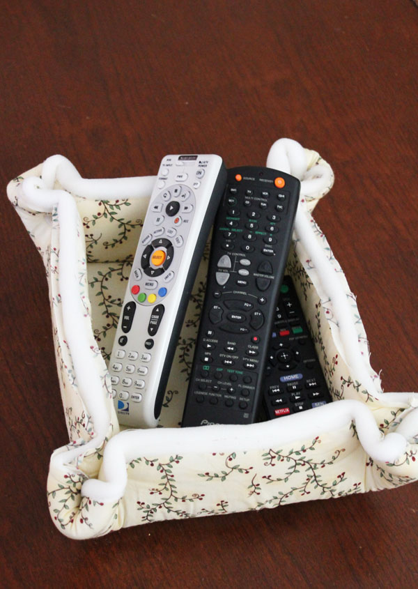 remote basket in the living room