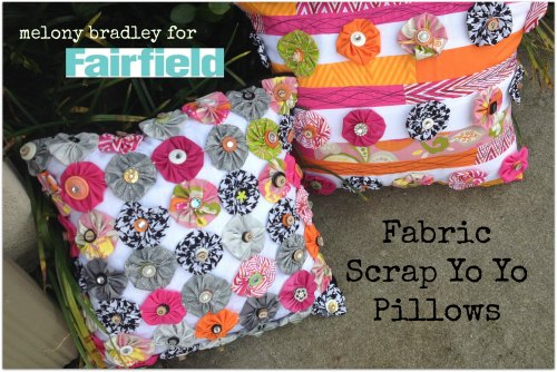 fabric scrap yo yo pillows