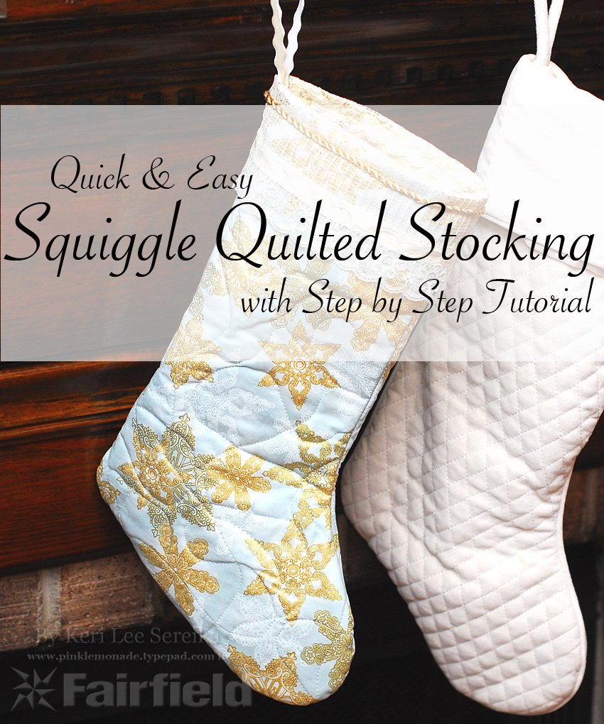 Squiggle Quilted Stocking with Text - Keri Lee Sereika