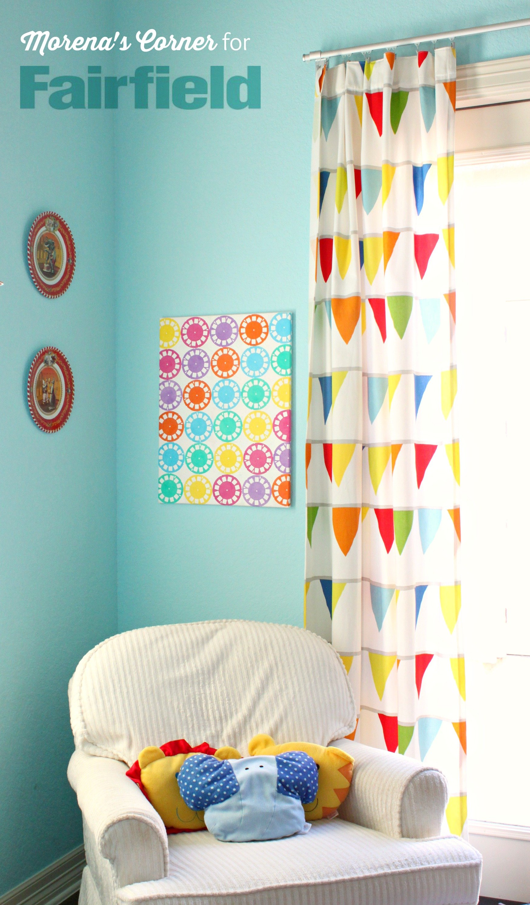 Colorful wall art made with oly fun fabric fairfield for Diy colorful wall art